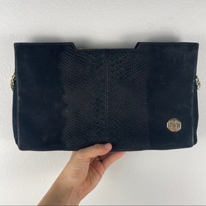Vince Camuto Black Leather Gold Accent Clutch